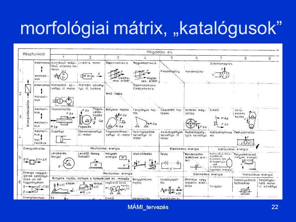 """morfológiai mátrix, """"katalógusok"""