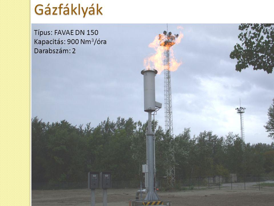 Gázfáklyák Típus: FAVAE DN 150 Kapacitás: 900 Nm3/óra Darabszám: 2 31