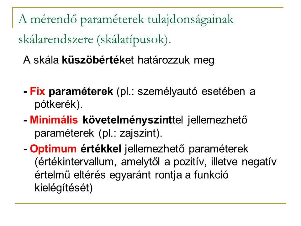 A mérendő paraméterek tulajdonságainak skálarendszere (skálatípusok).