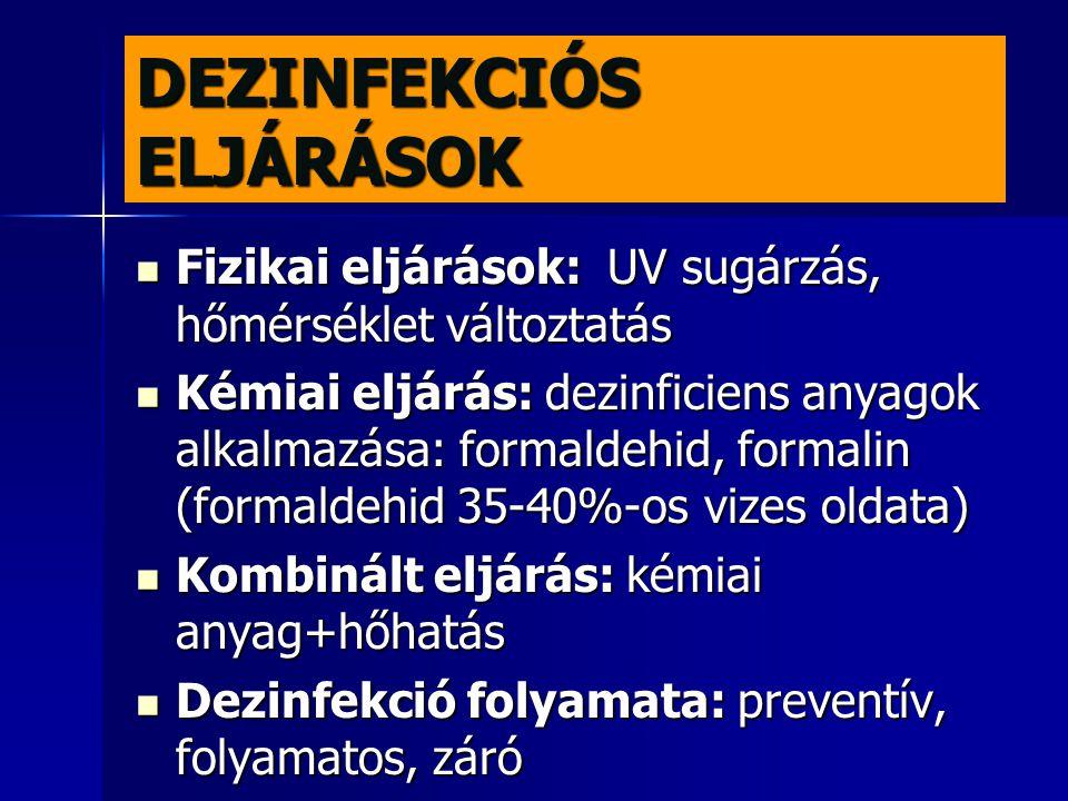 DEZINFEKCIÓS ELJÁRÁSOK
