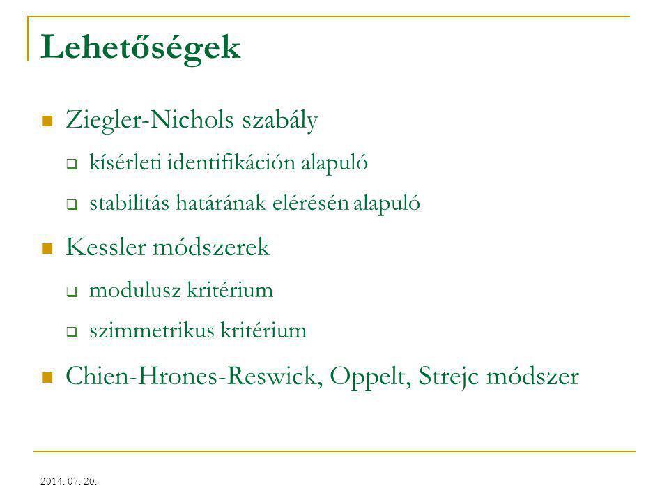 Lehetőségek Ziegler-Nichols szabály Kessler módszerek