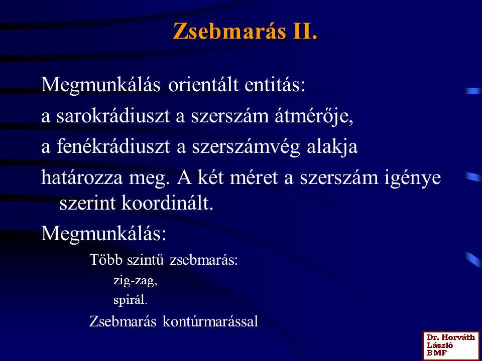 Zsebmarás II. Megmunkálás orientált entitás: