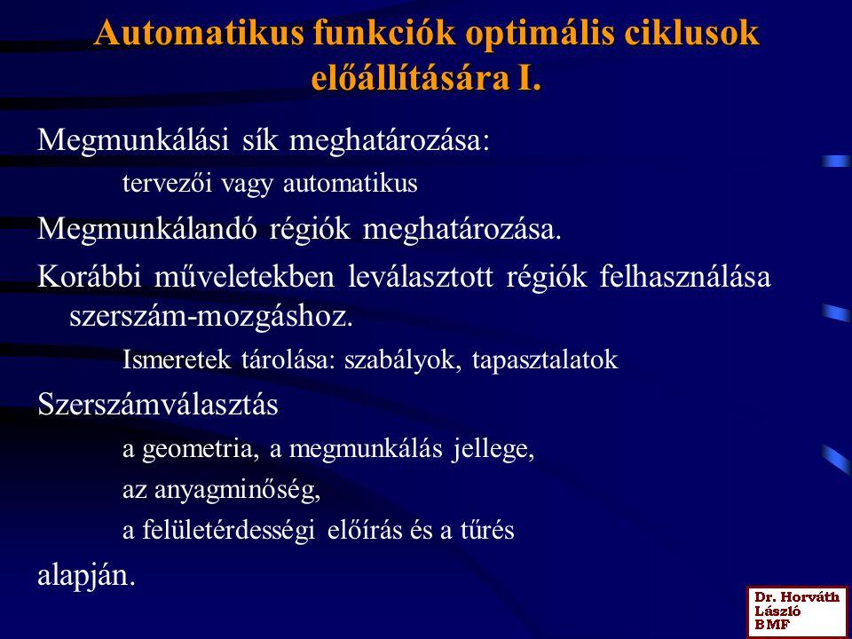 Automatikus funkciók optimális ciklusok előállítására I.