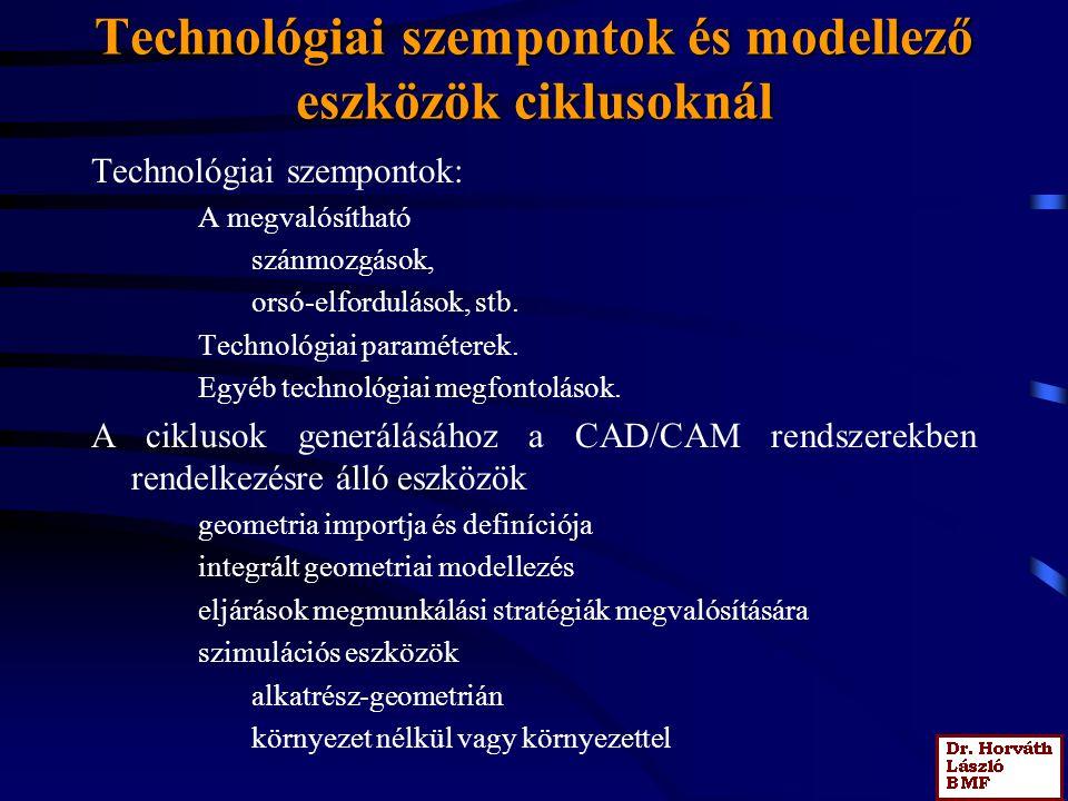 Technológiai szempontok és modellező eszközök ciklusoknál