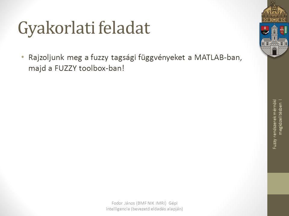 Gyakorlati feladat Rajzoljunk meg a fuzzy tagsági függvényeket a MATLAB-ban, majd a FUZZY toolbox-ban!