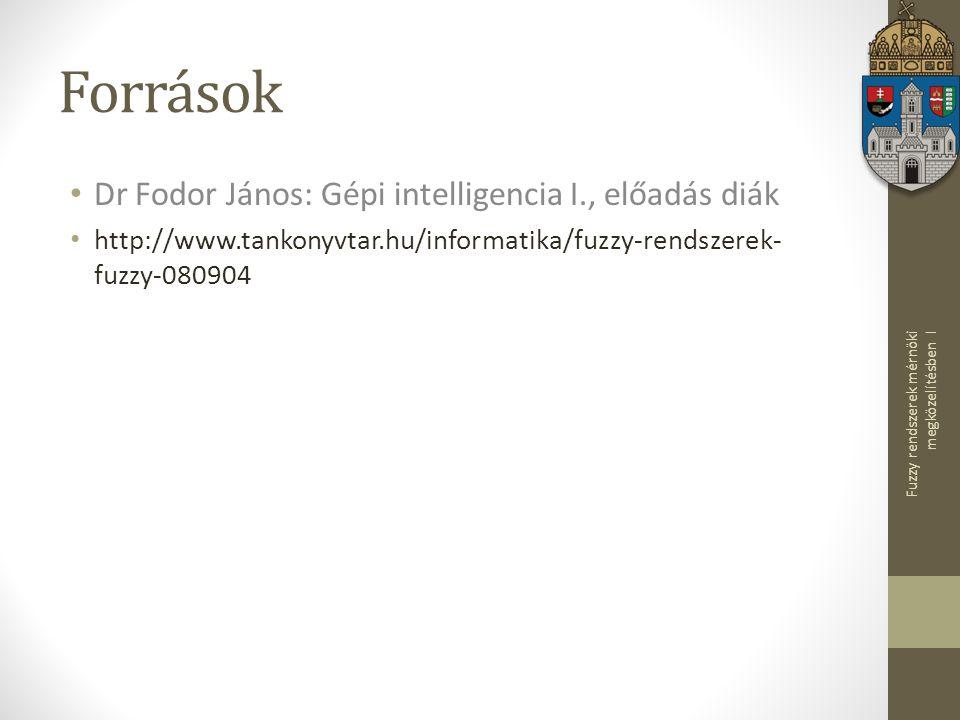 Források Dr Fodor János: Gépi intelligencia I., előadás diák