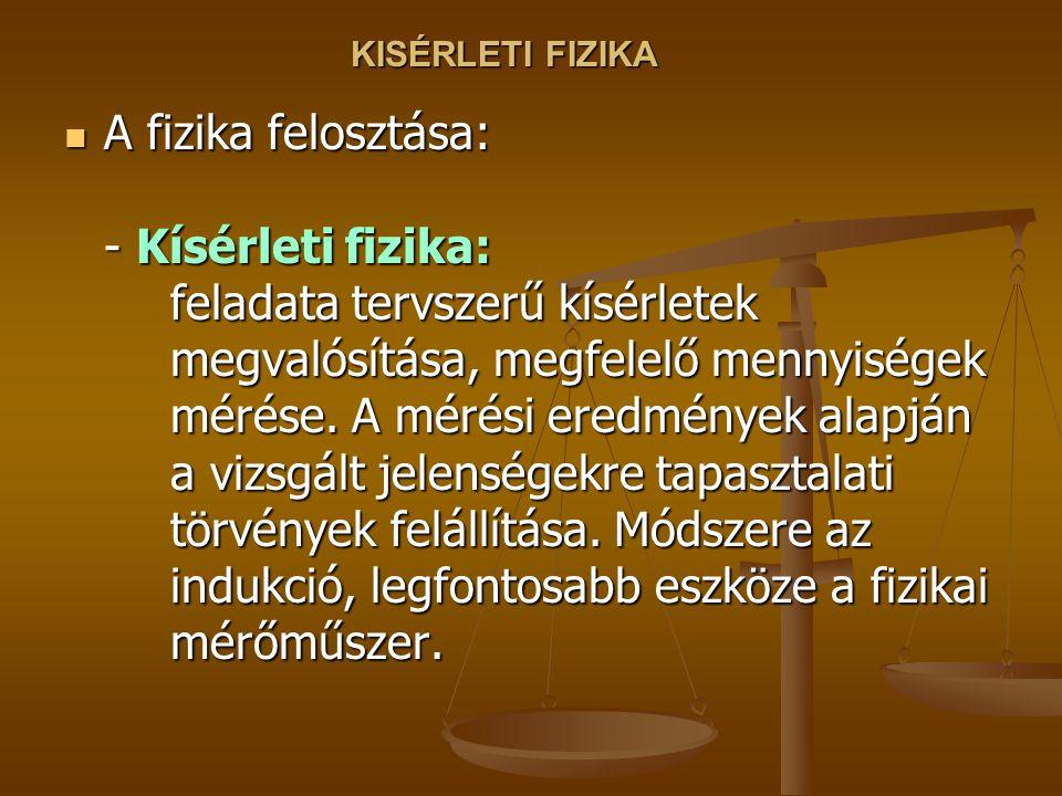 KISÉRLETI FIZIKA