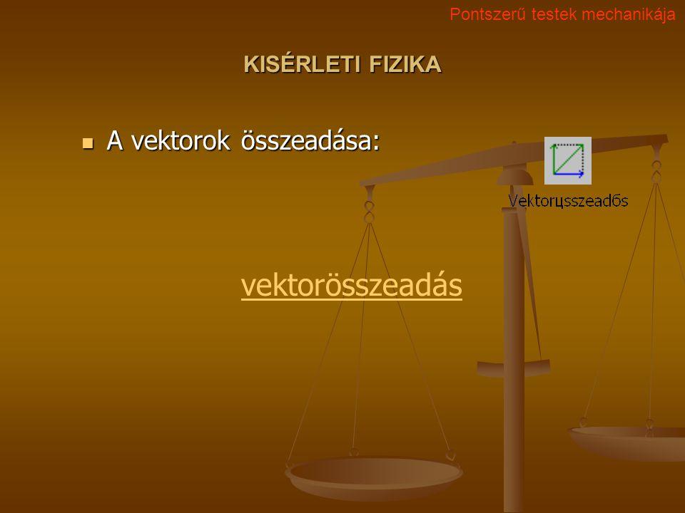 vektorösszeadás A vektorok összeadása: KISÉRLETI FIZIKA