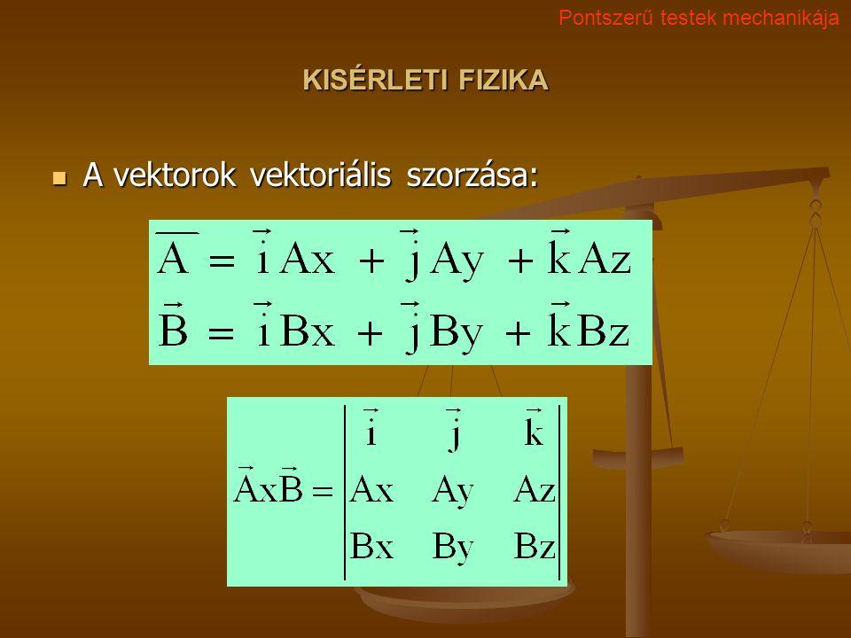 A vektorok vektoriális szorzása: