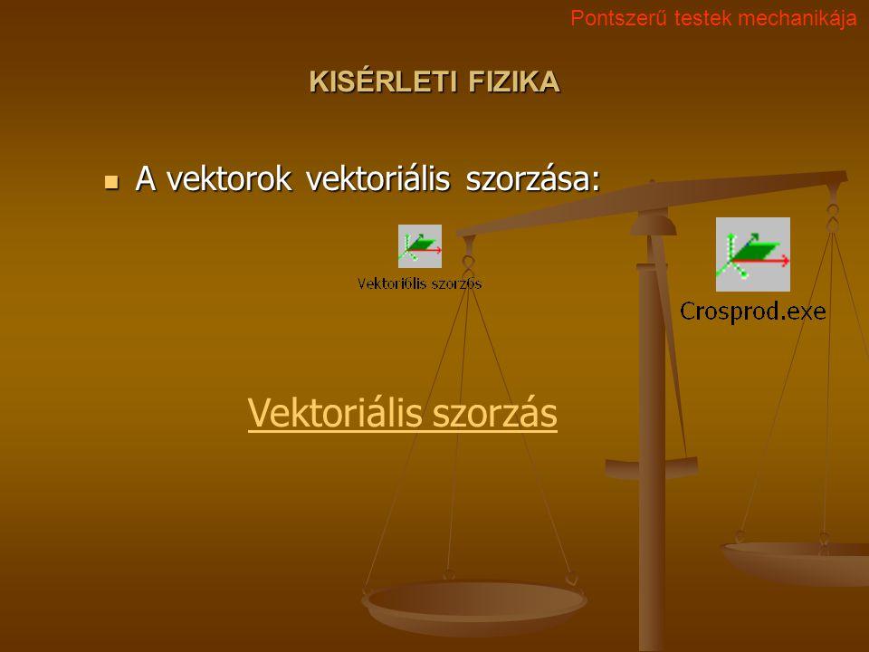 Vektoriális szorzás A vektorok vektoriális szorzása: KISÉRLETI FIZIKA