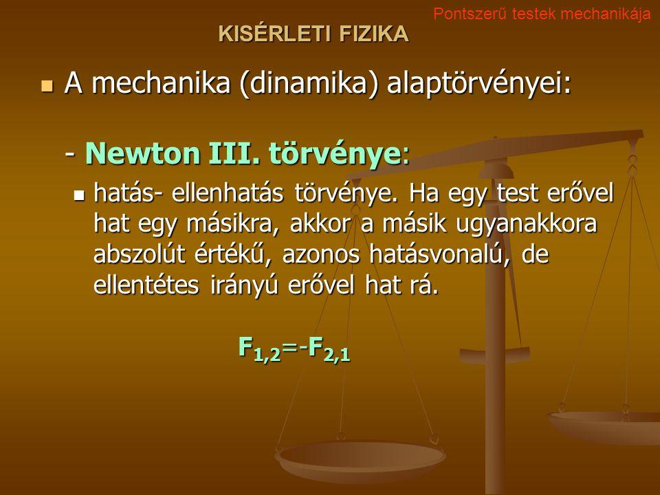 A mechanika (dinamika) alaptörvényei: - Newton III. törvénye:
