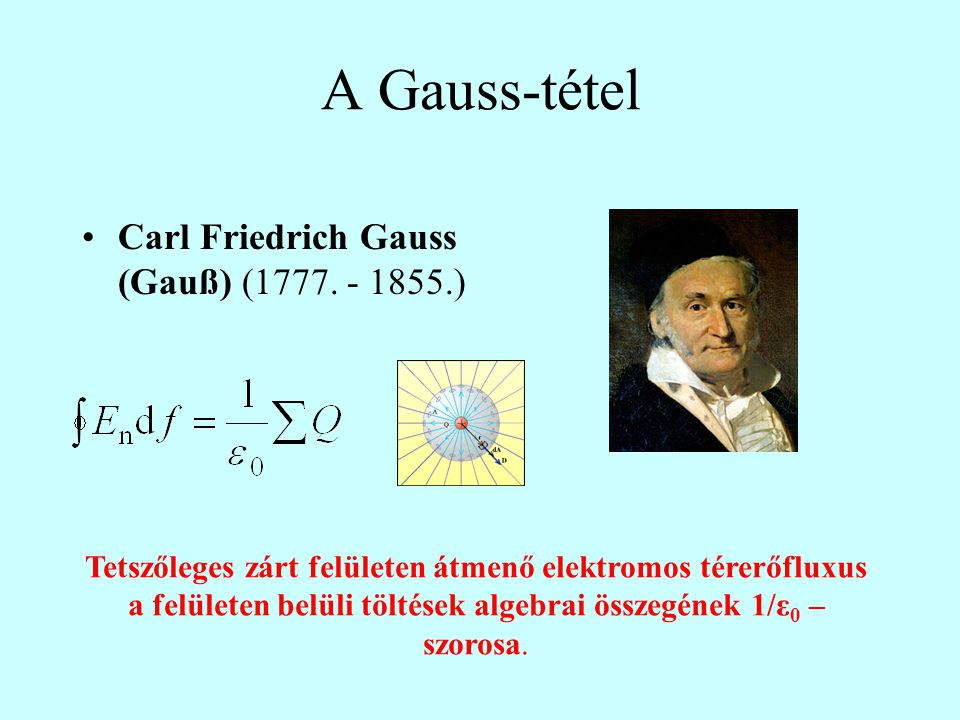 A Gauss-tétel Carl Friedrich Gauss (Gauß) (1777. - 1855.)
