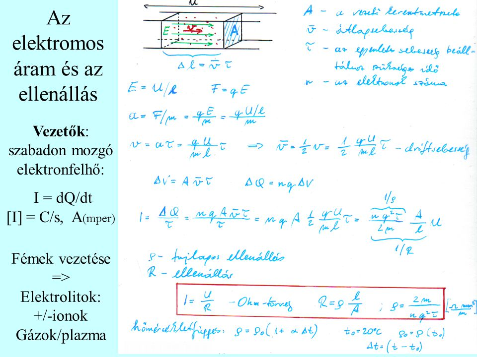 Fémek vezetése => Elektrolitok: +/-ionok Gázok/plazma