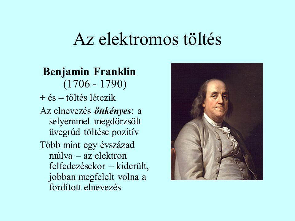 Az elektromos töltés Benjamin Franklin (1706 - 1790)
