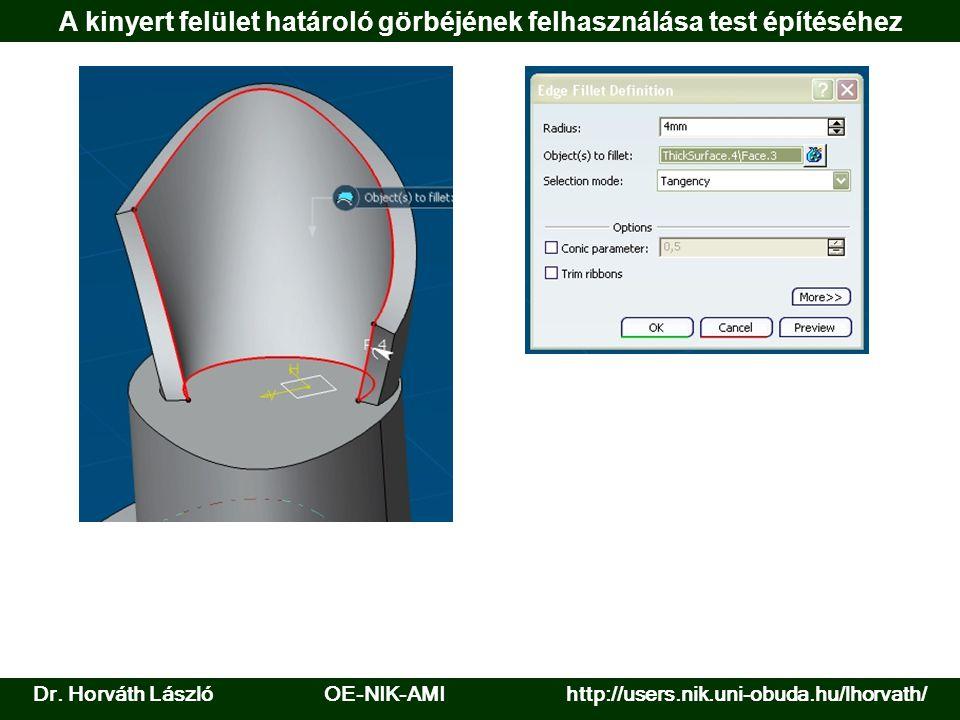 A kinyert felület határoló görbéjének felhasználása test építéséhez