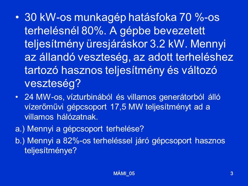 30 kW-os munkagép hatásfoka 70 %-os terhelésnél 80%