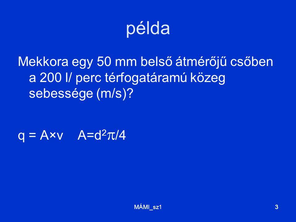 példa Mekkora egy 50 mm belső átmérőjű csőben a 200 l/ perc térfogatáramú közeg sebessége (m/s) q = A×v A=d2/4.