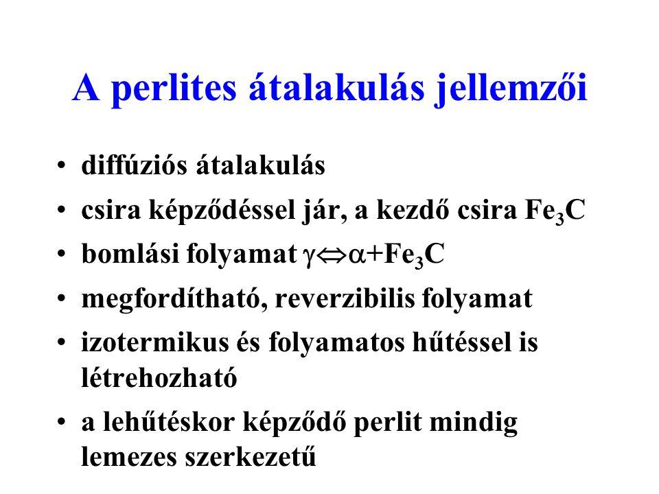 A perlites átalakulás jellemzői