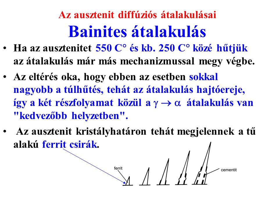Az ausztenit diffúziós átalakulásai Bainites átalakulás