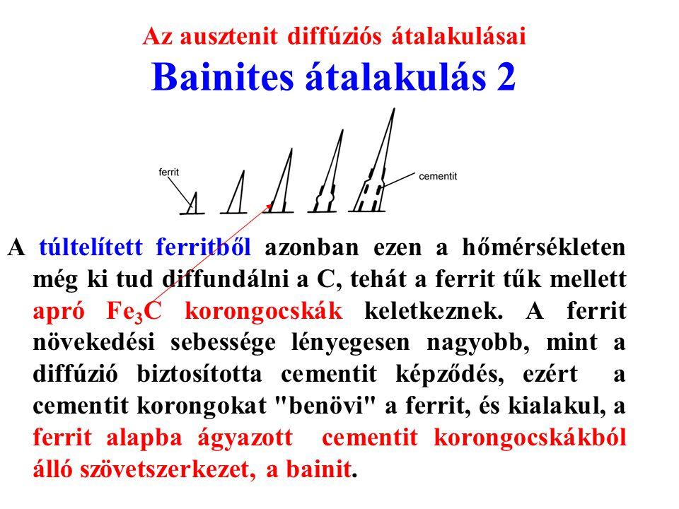 Az ausztenit diffúziós átalakulásai Bainites átalakulás 2