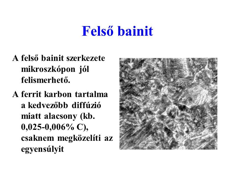 Felső bainit A felső bainit szerkezete mikroszkópon jól felismerhető.