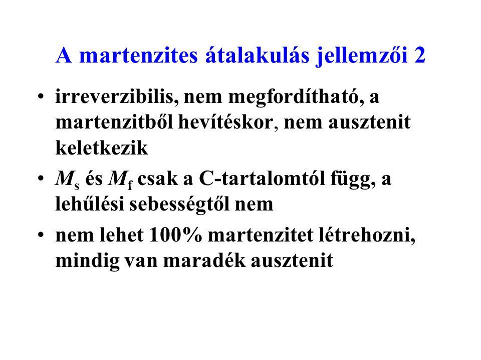 A martenzites átalakulás jellemzői 2