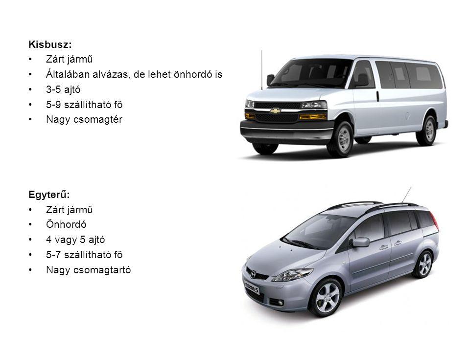 Kisbusz: Zárt jármű. Általában alvázas, de lehet önhordó is. 3-5 ajtó. 5-9 szállítható fő. Nagy csomagtér.