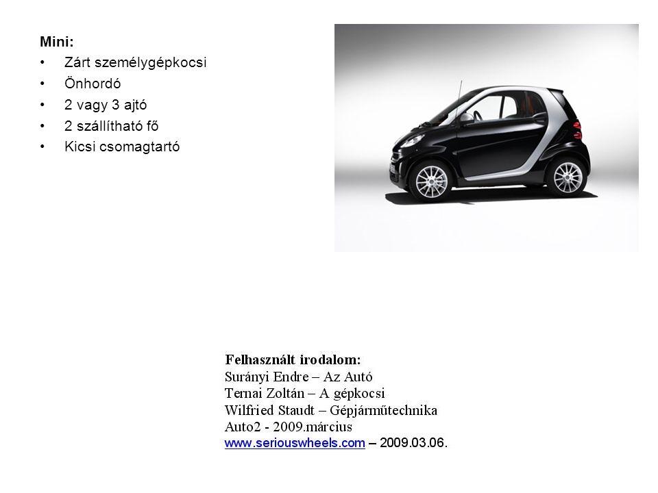 Mini: Zárt személygépkocsi Önhordó 2 vagy 3 ajtó 2 szállítható fő Kicsi csomagtartó