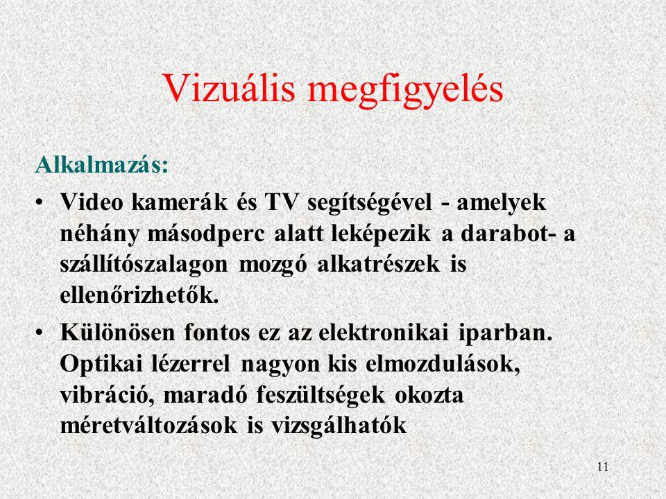 Vizuális megfigyelés Alkalmazás: