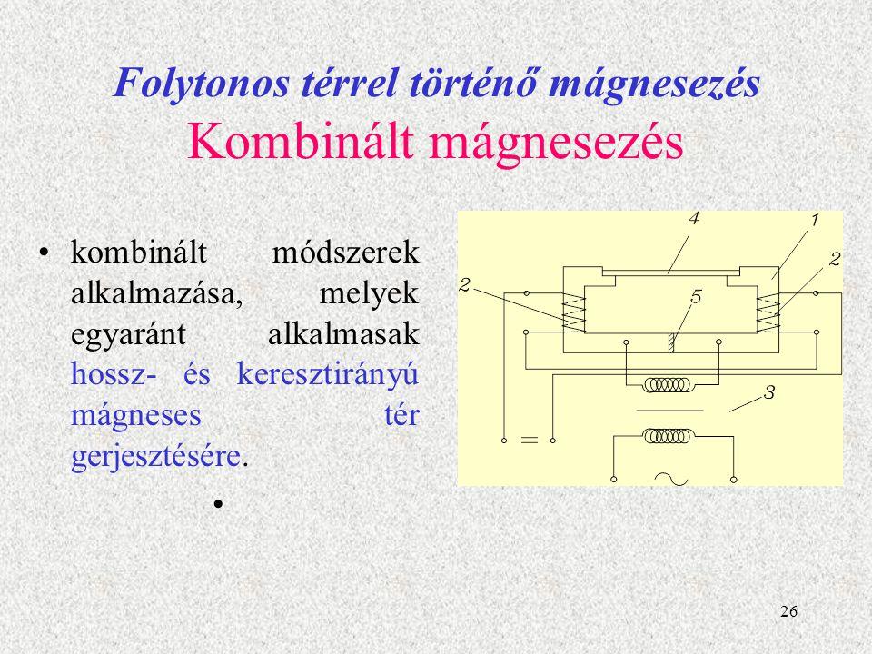 Folytonos térrel történő mágnesezés Kombinált mágnesezés