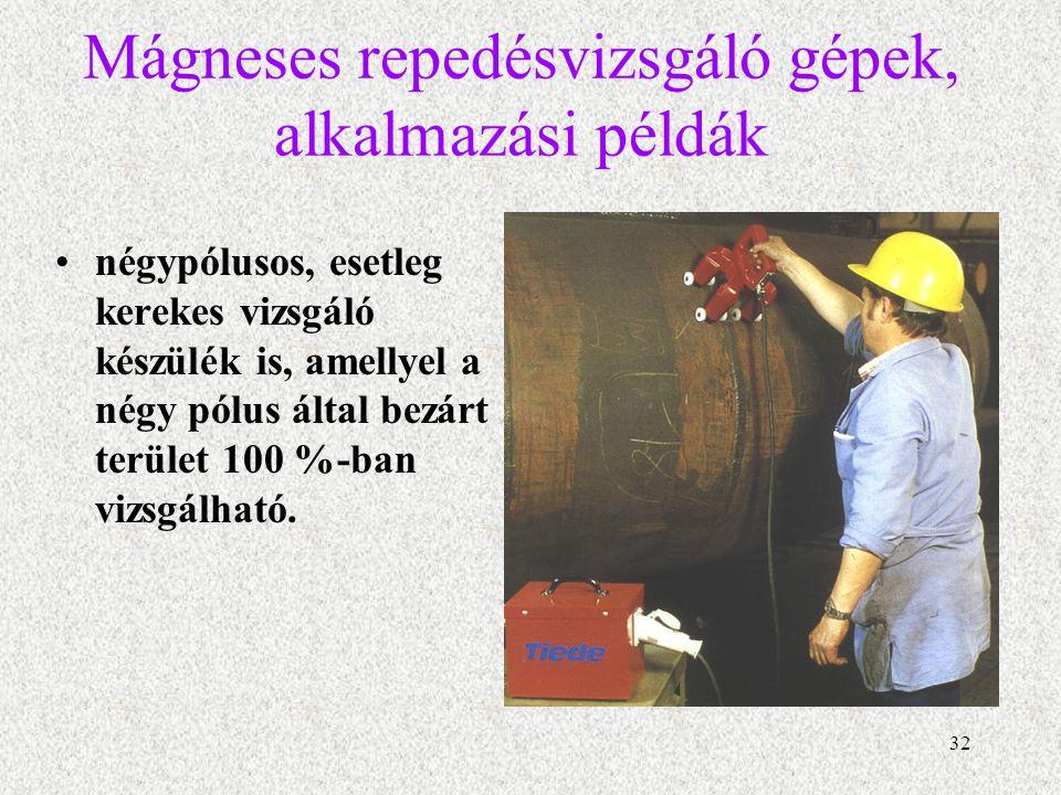 Mágneses repedésvizsgáló gépek, alkalmazási példák