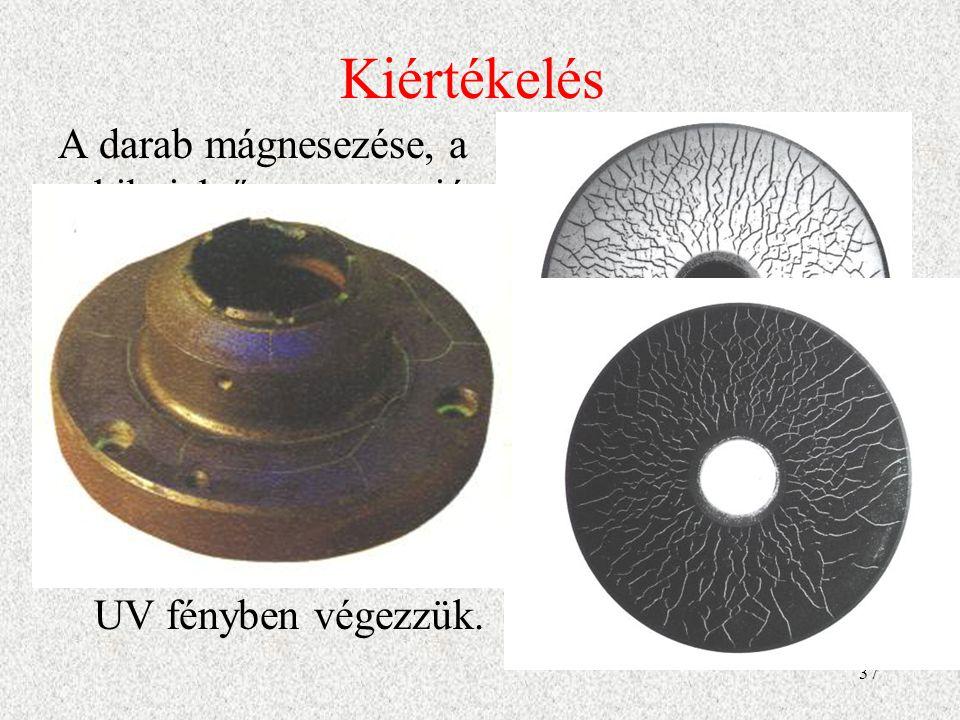 Kiértékelés A darab mágnesezése, a hibajelző szuszpenzió felhordása után a darabot szemrevételezzük.