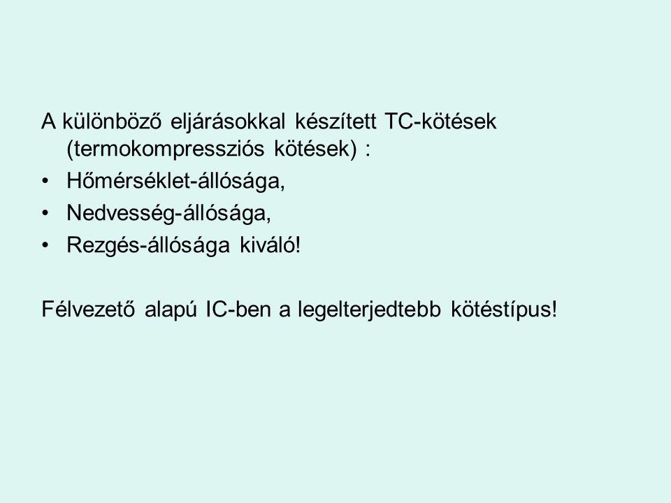 A különböző eljárásokkal készített TC-kötések (termokompressziós kötések) :