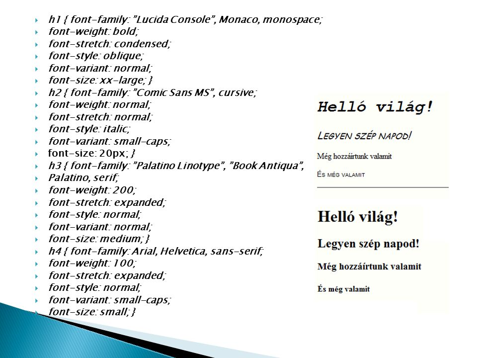 h1 { font-family: Lucida Console , Monaco, monospace;