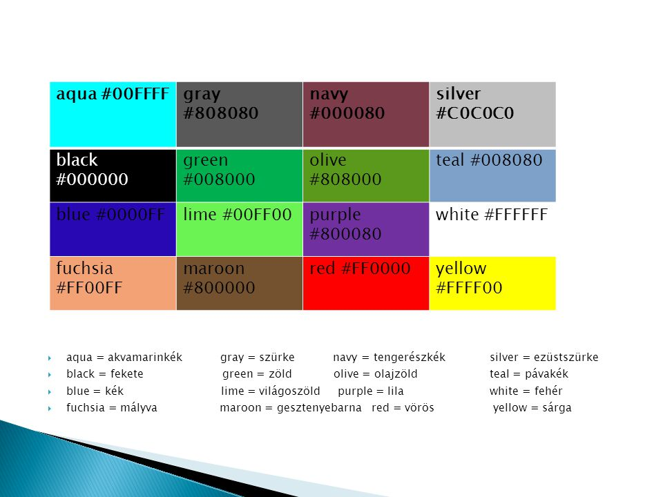 aqua #00FFFF gray #808080 navy #000080 silver #C0C0C0 black #000000