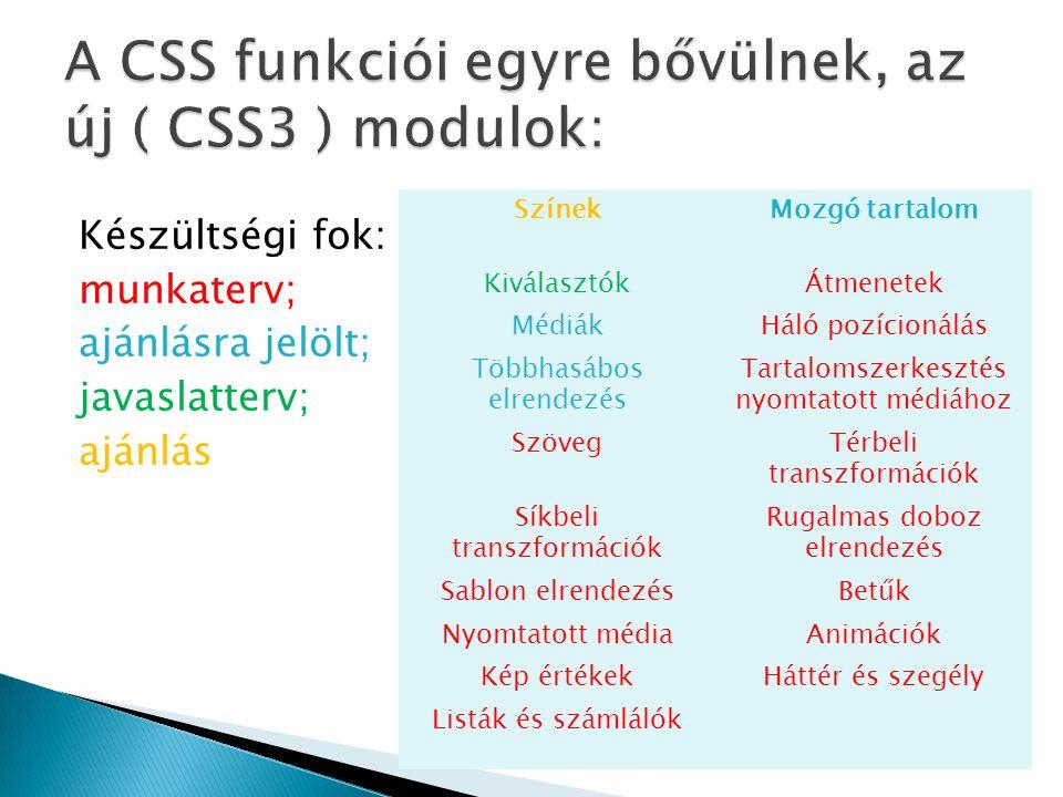 A CSS funkciói egyre bővülnek, az új ( CSS3 ) modulok: