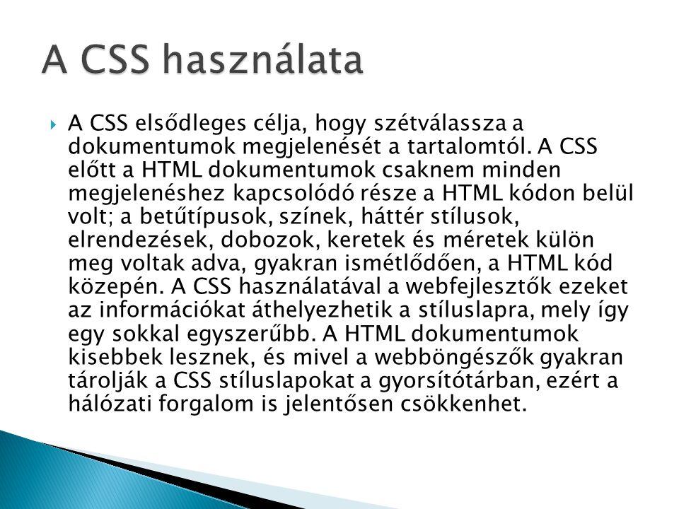 A CSS használata
