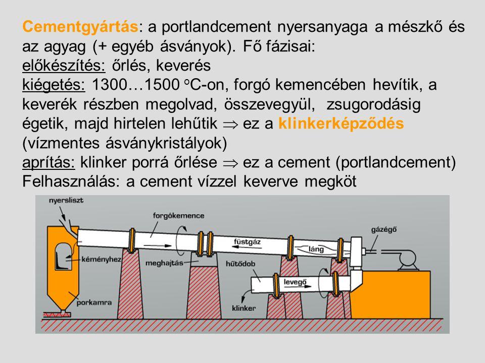 Cementgyártás: a portlandcement nyersanyaga a mészkő és az agyag (+ egyéb ásványok). Fő fázisai: