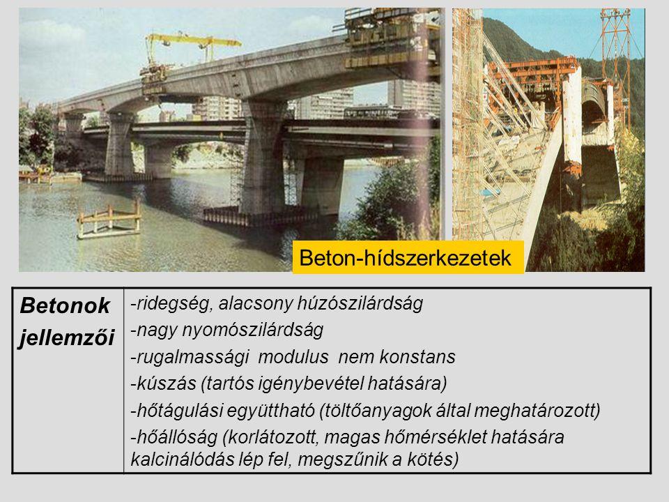 Beton-hídszerkezetek Betonok jellemzői