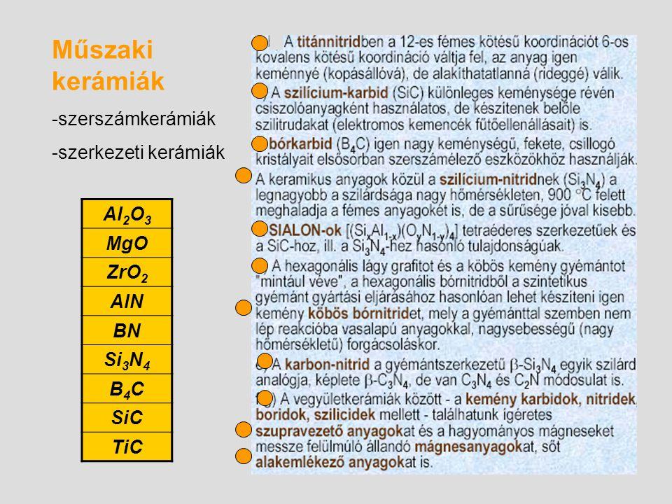 Műszaki kerámiák Al2O3 -szerszámkerámiák MgO -szerkezeti kerámiák ZrO2