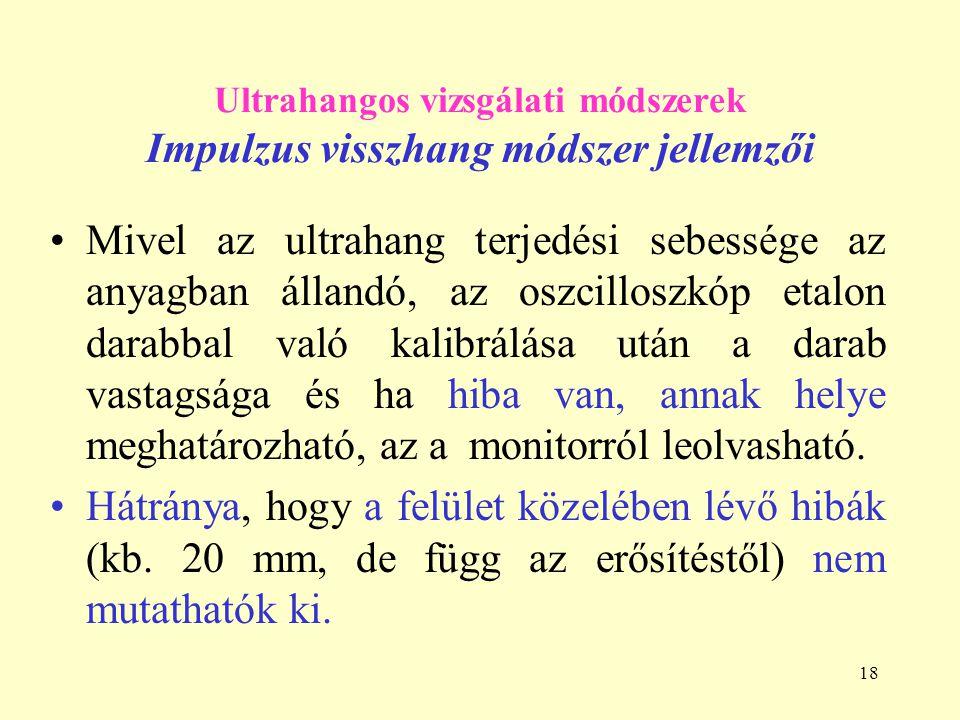 Ultrahangos vizsgálati módszerek Impulzus visszhang módszer jellemzői