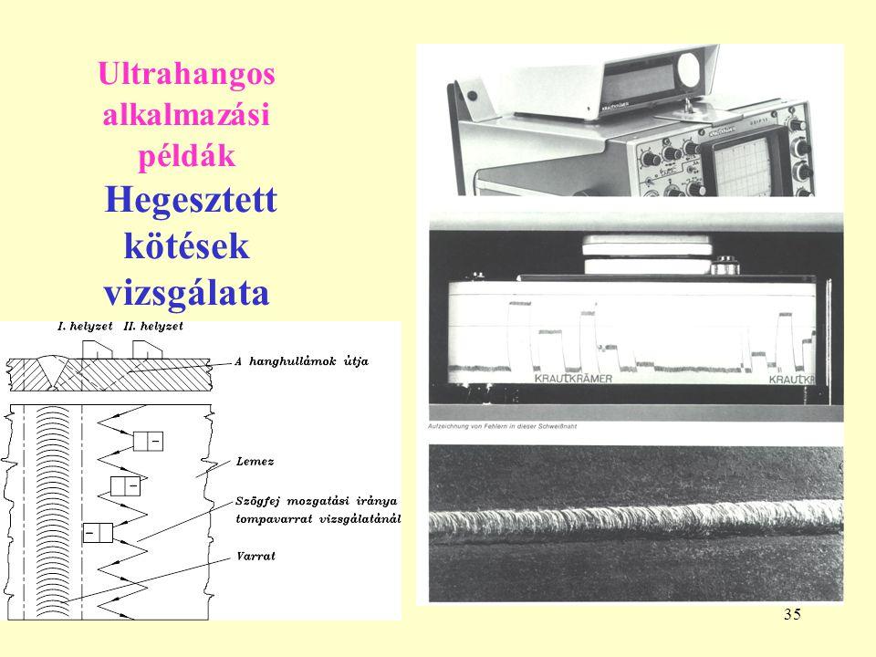 Ultrahangos alkalmazási példák Hegesztett kötések vizsgálata