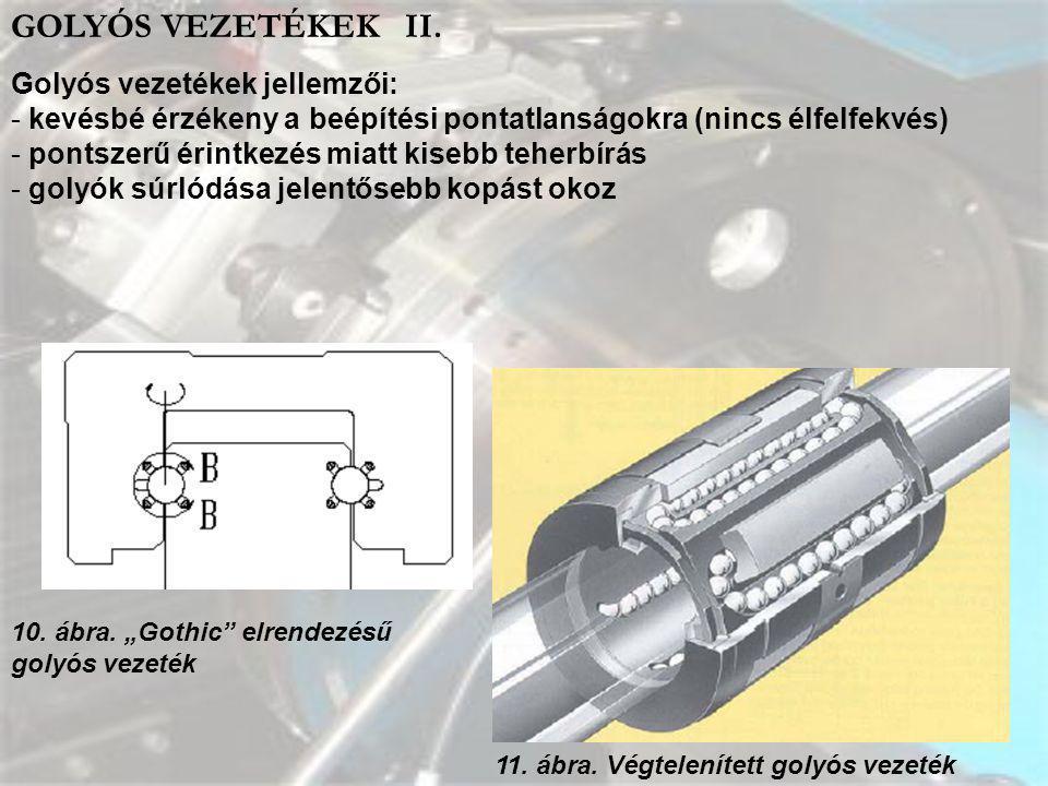 GOLYÓS VEZETÉKEK II. Golyós vezetékek jellemzői: