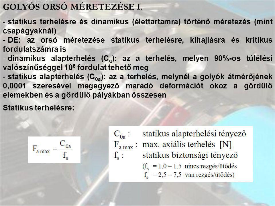 GOLYÓS ORSÓ MÉRETEZÉSE I.