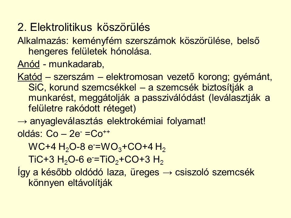 2. Elektrolitikus köszörülés