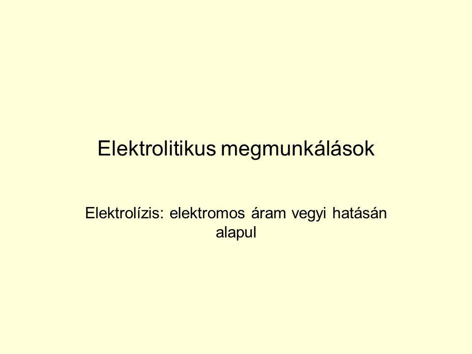 Elektrolitikus megmunkálások