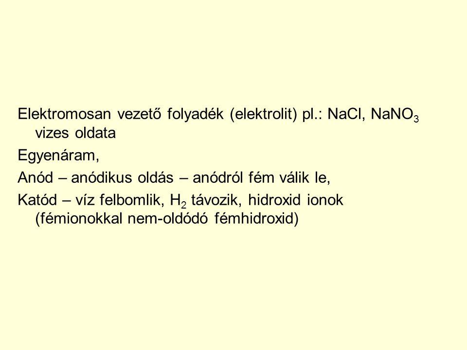 Elektromosan vezető folyadék (elektrolit) pl