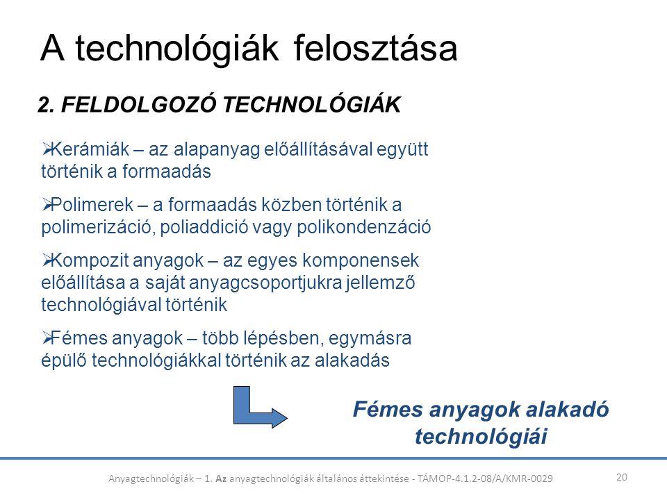 A technológiák felosztása