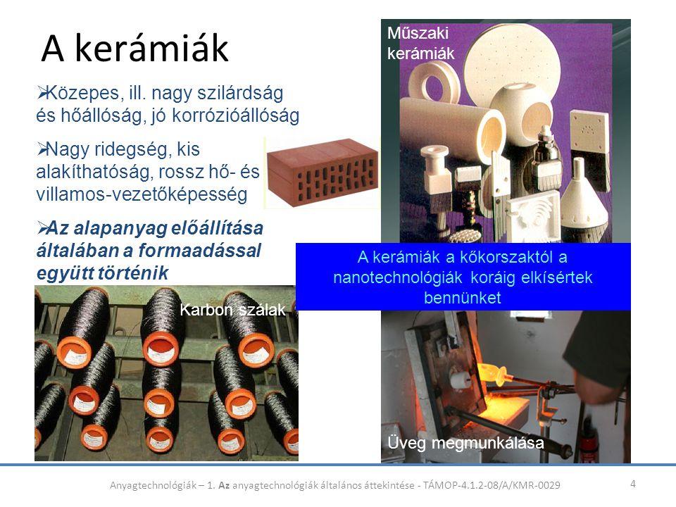 A kerámiák Műszaki kerámiák. Közepes, ill. nagy szilárdság és hőállóság, jó korrózióállóság.