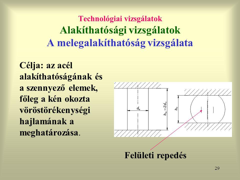 Technológiai vizsgálatok Alakíthatósági vizsgálatok A melegalakíthatóság vizsgálata